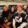 BRYAN EATON/Staff photo. Amesbury friends Cam Leary, Eric Dawes and Will Parady took the train to Boston for the Patriot's Superbowl celebration and parade.