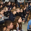 "BRYAN EATON/Staff Photo. Salisbury Elementary School students watch as speed artist and motivational speaker Rob Surette creates a portrait of President Abraham Lincoln from a black canvas while a patriotic-themed slide show is presented. He brought his ""Be Somebody!' The Show That Could Change the World courtesy of the school's PTA and the Salisbury Cultural Arts Council."