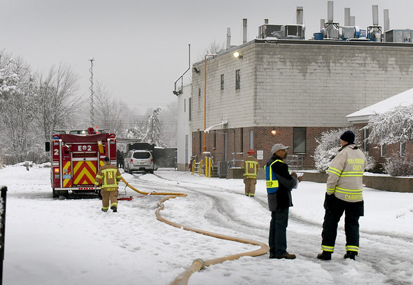 BRYAN EATON/Staff Photo. Fire and hazmat crews responded to explosions at PCI Synthesis on Opportunity Way in Newburyport. No injuries were reported.