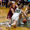 BRYAN EATON/Staff photo. Leah Mesker and Pentucket's Hannah Lambert (#20) go for the loose ball.