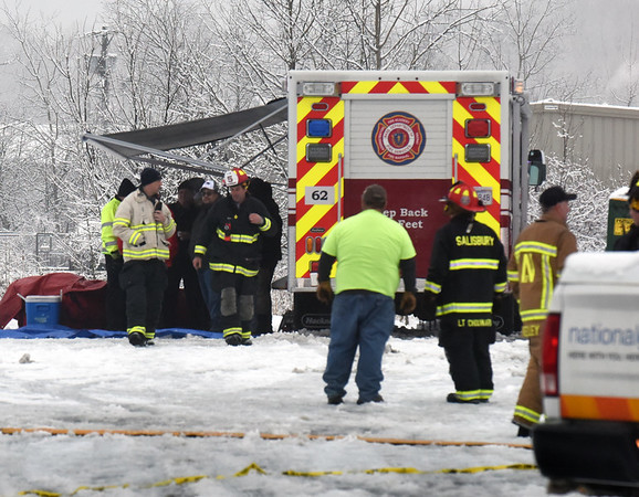 BRYAN EATON/Staff Photo. Fire and hazmat command post at PCI Synthesis on Opportunity Way in Newburyport.