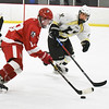 BRYAN EATON/Staff photo. Amesbury forward Ian Pelletier moves the puck into Haverhill territory.