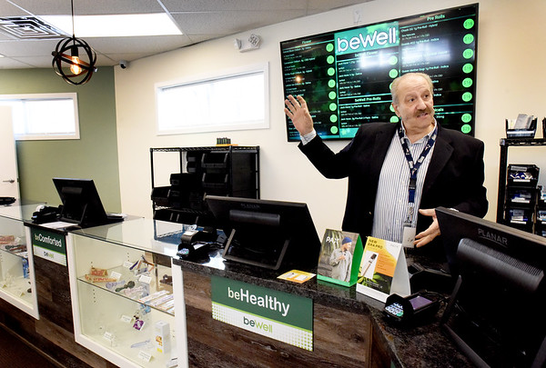 BRYAN EATON/Staff Photo. Chuck Saba talks about his beWell Organic Medicine, a medical cannabis dispensary that opened last week on Broad Street in Merrimac.