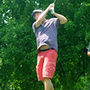BRYAN EATON/ Staff Photo. Tom Lawrence of Newburyport tees off on the third hole in the Yankee Homecoming Golf Tournament.