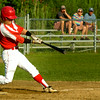 BRYAN EATON/ Staff Photo. Colby Ingraham hits a triple sending in two Post 150 runners.