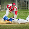 BRYAN EATON/ Staff Photo. Legion Post 150 third baseman Coltin Fontaine slaps the tag on a Methuen player at Eiras Park.