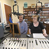 JIM VAIKNORAS/Staff photo Joe Vecchione and Ellyane Klein record a speech by Fredrick Douglas during an open house at the Greater Newburyport Community Media Hub Sunday.