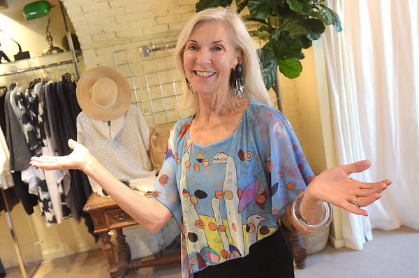TIM JEAN/Staff photo<br /> <br /> Nancy McCarthy of Newburyport, models a Joni Cape Dress by Artist Jessica Hachmeister, titled Bird Series #13, that will be part of the fashion show to benefit the Newburyport Art Association. 7/9/18