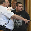 JIM VAIKNORAS/Staff photo Nicholas Mandato is arraigned for murder of Bryce Finn at Haverhill District Court in Newburyport Thursday.
