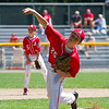 AMANDA SABGA/Staff photo<br /> <br /> Amesbury's Bobby Porter (25) pitches during a game against Beverly at the Harry Ball Field in Beverly.<br /> <br /> 7/7/18