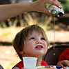 JIM VAIKNORAS/Staff photo Anderson Boyd, 2, of Amesbury  waits patiently as mom Nicole at Pancakes in the Pines put on by the  Rock Church at the Amesbury Town Park.  Over 400 pancake breakfasts were served Wednesday morning.