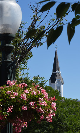 BRYAN EATON/Staff photo. The steeple of the Market Street Baptist Church in downtown Amesbury.