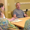 TIM JEAN/Staff photo<br /> <br /> Barry Spiro, right, discuses the book Dream When You're Feeling Blue, by Elizabeth Berg during the first book club meeting at the Newburyport Senior Community Center. The Newburyport Public Library and the Council on Aging are partnering to have a book club. The group will be held on the second Wednesday of every month.  7/11/18