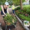 BRYAN EATON/Staff photo. Intern Sophie Boynton of Newburyport throws weeds into a container as she helps Edith Heyck, Newburyport Waterfront park manager maintain the beds there on Monday afternoon. She's applying for colleges and this is one of her community service projects that she will attach to her applications.