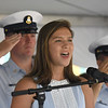 JIM VAIKNORAS/Staff photo Paige Goldthorpe sings the National Anthem at Yankee Homecoming opening ceremonies Sunday at the Bartlet Mall in Newburyport.