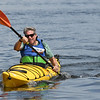 JIM VAIKNORAS/Staff photo Borja Alvarez De Toledo wins the recreational division at the 3rd annual Yankee Homecoming Kayak and SUP River Race at Cashman Park in Newburyport Saturday.