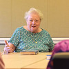 TIM JEAN/Staff photo<br /> <br /> Eleonora Paciulan, talks about the book Dream When You're Feeling Blue, by Elizabeth Berg, during the first book club meeting at the Newburyport Senior Community Center. The Newburyport Public Library and the Council on Aging are partnering to have a book club. The group will be held on the second Wednesday of every month.  7/11/18