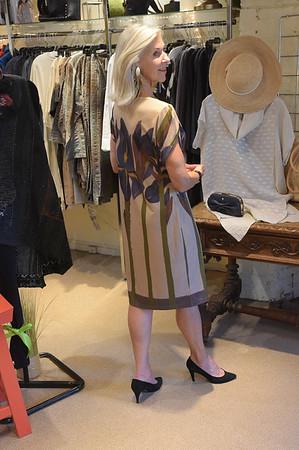 TIM JEAN/Staff photo<br /> <br /> Nancy McCarthy of Newburyport, models a Michelle's Dress by Artist Sara Demrow Dent, titled Iris Glow, that will be part of the fashion show to benefit the Newburyport Art Association. 7/9/18