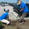 JIM VAIKNORAS/Staff photo Volunteers from the Rock Chursh Gail Sandborn of Salisbury and Sabine Bannister of Windham NH plant flowers at Salisbury Beach Saturday morning. The two were among several hundred across he North Shore and Southern New Hampshire as part of For Our Community Day of Service.