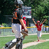 AMANDA SABGA/Staff photo<br /> <br /> Amesbury's Reece Jezowski (20) reacts as he runs in the first of many runs on a home run during a game against Beverly at the Harry Ball Field in Beverly.<br /> <br /> 7/7/18
