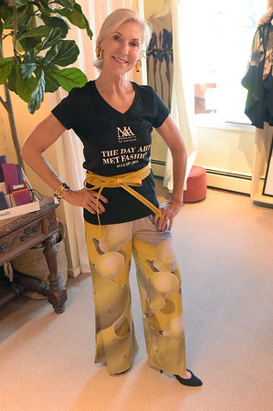 TIM JEAN/Staff photo<br /> <br /> Nancy McCarthy of Newburyport, models Carla Palazzo pants by Artist Debbie Shirley, titled Stay, that will be part of the fashion show to benefit the Newburyport Art Association. 7/9/18