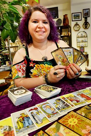 BRYAN EATON/Staff photo. Leeza Masia hosts Tarot Tuesdays at her Riverwalk Gallery in Amesbury.