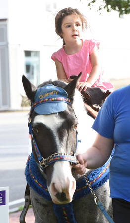 BRYAN EATON/Staff photo. Alana Pouliot, 3, of Amesbury gets to ride the horses at Amesbury Days' Block Party.