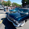 JIM VAIKNORAS/Staff photo A black 1960 Cadillac  owned by Peter Telis of Wilmington at the Amesbury car show in Market Square Sunday morning.