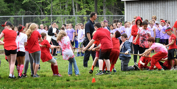 BRYAN EATON/Staff photo. Youngsters compete in the Tug-of-War at Salisbury Elementary School's Field Day.