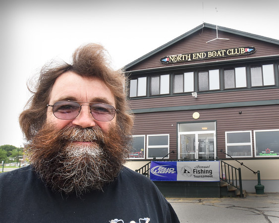 BRYAN EATON/Staff photo. North End Boat Club member Mark Psaros is losing his beard and hair on Sunday in the Second Annual Shave the Wolfman Funraiser to raise money for multiple sclerosis.