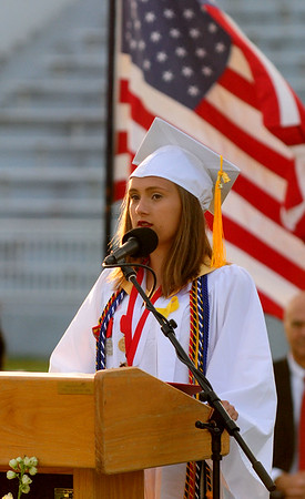 JIM VAIKNORAS/staff photo  Salutatorian Hailee Gibadlo speaks at Amesbury high graduation at Landry Stadium in Amesbury Friday night.