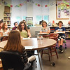 BRYAN EATON/Staff photo. Ralph Orlando, a retired US Navy captain and medical officer who served 13 months in the Indian Ocean during the Iranian hostage crisis in the late '70s, speaks to an eighth grade class at the Nock Middle School on Wednesday. He and 10 other veterans, in a response to a general public request from Rep. Seth Moulton's office, spoke about their military service at the Veteran Town Hall Meeting for the students on Flag Day.