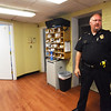 BRYAN EATON/Staff photo. Merrimac police chief Eric Spears in the inner lobby of the police station which was built as a trolley garage in the early 1900's.