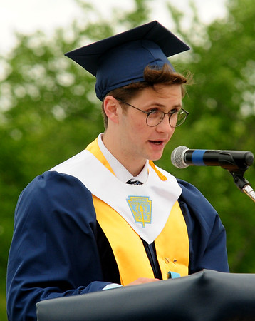 JIM VAIKNORAS/staff photo Triton salutatorian  Jacob Daniels speaks at commencement exercises in Byfield Saturday.