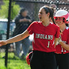 JIM VAIKNORAS/staff photo  Amesbury Maddie Napoli and Emma DiPietro celebrate a run against Winthrop at Amesbury Friday.
