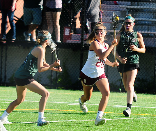 JIM VAIKNORAS/staff photo Newburyport's Maggie Pons move in for a goal against Austin Prep  at World War Memorial Stadium in Newburyport Wednesday.