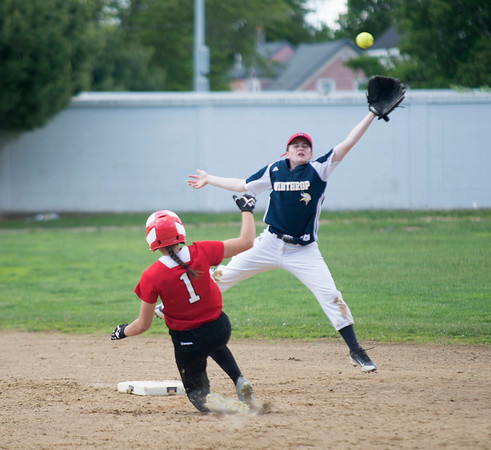 JIM VAIKNORAS/staff photo  Amesbury's Maddie Napoli slides into second  as Winthrop's Stephanie Stragie fields a high throw at Amesbury Friday.
