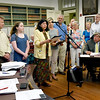 BRYAN EATON/Staff photo. Newburyport mayor Donna Holaday presented a resolution Monday night, at the city council meeting, stating that the city joins with the United States Climate Mayors to honor the Paris Climate Agreement. Organizations standing with her were Newburyport Energy Advisory Committee, Clean Tech Center, Eco Collaborative, Storm Surge, Union of Concerned Scientists, Nock Middle School, Newburyport High School, Joppa Flats Education Center, Transition Newburyport, Hall and Moskow, Friends of Newburyport Trees, First Religious Society Church and Gulf of Maine Institute.
