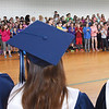 BRYAN EATON/Staff photo. Salisbury Elementary School students applaud Triton High seniors who graduate on Saturday before some of them spoke to the students.