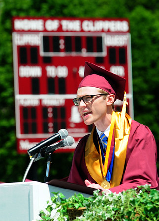 JIM VAIKNORAS/staff photo Valedictorian Jackson Kealey speaks at Newburyport graduation at World War Memorial Stadium Sunday morning.