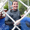BRYAN EATON/Staff photo. Salisbury Memorial School principal Jim Montanari was a good sport going down many times in the dunk tank.
