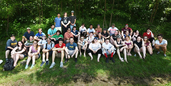 BRYAN EATON/Staff photo. Students from the Amesbury Innovation High School pose for a year end photo after having a pizza party at Lake Gardner in Amesbury. Earlier they did a special project based on the Amazing Race where the students solved riddles and collected clues throughout town and ended up at the lake for the finish.