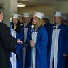 JIM VAIKNORAS/staff photo High school principal Peter Lucia talks with the graduates for a few moments befor they march out  at Georgetown's Commencement at Perley School Field Saturday