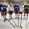 BRYAN EATON/Staff photo. Newburyport High School hockey captains, from left, Patrick Leary, Robert Johnston, Jacob Grossi-Hogg, Michael Twomey and Thomas Greene.