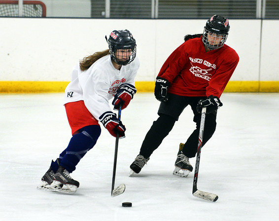 CARL RUSSO/Staff photo. Newburyport freshman Isabel Hulse, left, is having a terrific start to her high school career, as she is currently among the leading scorers for the Masconomet girls hockey co-op team 1/24/2019.