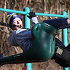 BRYAN EATON/Staff photo. Connor Forisso, 10, is thrilled to see how high he can go on the swingset at Amesbury's Cashman School at recess as his friend Matthew Hale, 10, pushes him. Today and tomorrow recesses will likely be indoors as there is snow and rain in the forecast for both days.
