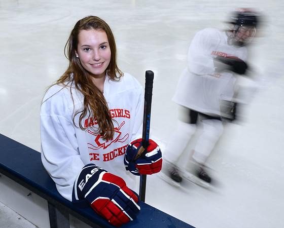 CARL RUSSO/Staff photo. Newburyport freshman Isabel Hulse is having a terrific start to her high school career, as she is currently among the leading scorers for the Masconomet girls hockey co-op team 1/24/2019.
