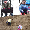 BRYAN EATON/Staff photo. Thomas Murray, left, and Blakey Millette, both 6, show their excitement as they release their tissue box sleds at the Bresnahan School. The students in Robin O'Malley's class designed the sleds to explore the action of Push and Pull, a component of the Next Generations Science Standard.