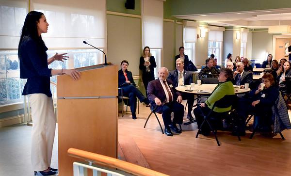 BRYAN EATON/Staff photo. State Sen. Diana DiZoglio speaks at the Greater Newburyport Chamber of Commerce and Industry Legislative Breakfast.