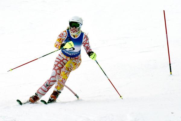 BRYAN EATON/Staff photo. Caroline Bortz approaches the finish at Ski Bradford.
